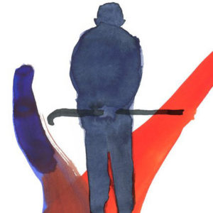 watercolor old man with cane